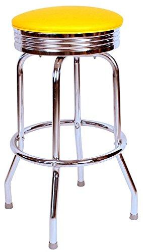 (Richardson Seating 0-19715YEL24 Retro Chrome Swivel bar Stool with Seat Metal, 24