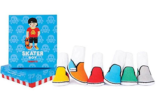 Trumpette Baby-Boys 6-pairs Newborn Skater Boy socks, Multi, 0-12 Months (Woven Socks Kids)