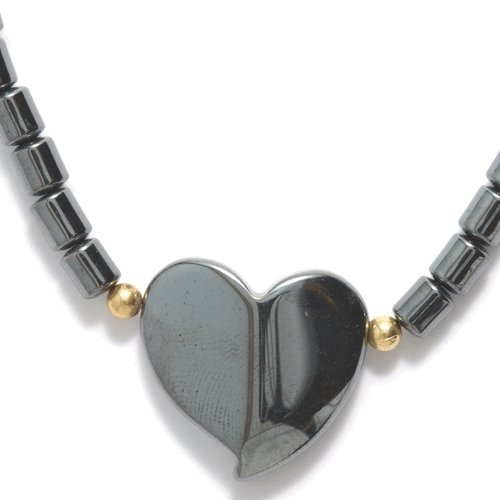 Shipwreck Hematite 17-Inch Necklace with 19-mm Heart Bead...