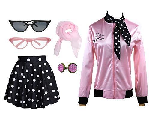 1950s Pink Ladies Satin Jacket T Bird Women Danny Halloween Costume Outfit (Black, X-Small) -