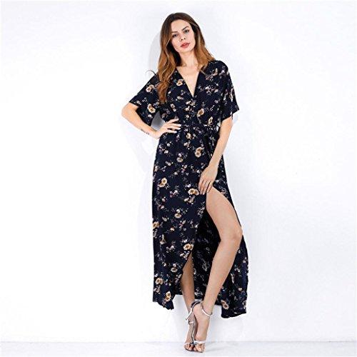 Soirée Vovotrade® Sundress Robe Sexy Bleu Plage Bohemian Femmes Longue Imprimé De 40qUw