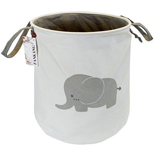 Storage Baskets,Collapsible & Convenient Nursery Hamper/Laundry Bin/Toy Collection Organizer for Kid's Room - Elephant