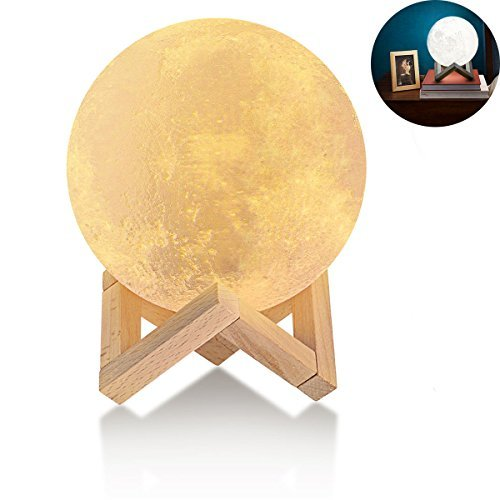3D Moon Baby Night Light Lamp with Wood Stand 5.9 inch Two Tone Lunar Moon Night Light Touch Control Home Decorative Baby Nursery Lamp Best gift for Kids by DAZL (Image #1)