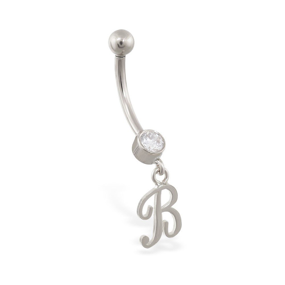 MsPiercing 14K Gold Belly Ring With Dangling Script Initial, B, 14K White Gold