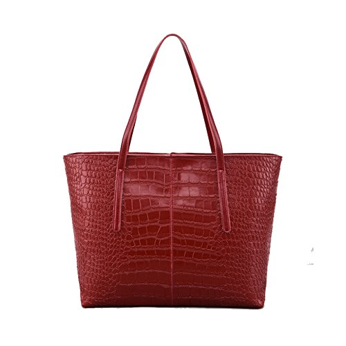 Crocodile Look Leather (STARESCITY Stylish Large Snakeskin Tote Bag Women Top Handle Satchel Handbags Tote Purse PU Leather Vintage Shoulder Bags Messenger lightweight Crocodile Embossed Tote Bags (Claret))