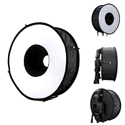 Lightdow 18 x 18 Inch (45 x 45 cm) Foldable Ring Speedlite Flash Diffuser Macro Shoot Round Softbox for Canon Nikon Sony Pentax Altura Photo Yongnuo Neewer Powerextra Godox Speedlight by Lightdow
