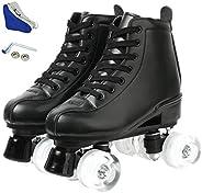 SABARRY Women's Roller Skates PU Leather High-top Roller Skates Four-Wheel Roller Skates Shiny Roller Skat