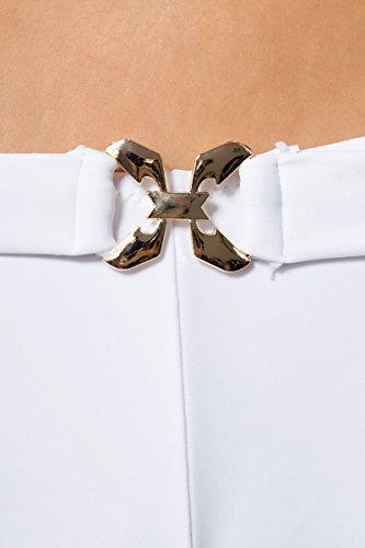 Vintage Push-Up Bikini-Set mit 2 Höschen Panty - 3tlg. Träger Badeanzug Weiss Gr. S-XL (12029)
