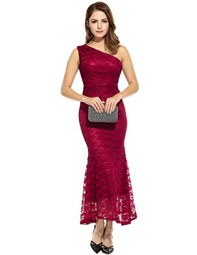 Angvns Women One Shoulder Lace Dress Prom Party Evening Gown Bridesmaids Long Dresses(Wine Red M)