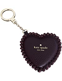 Pebbled Leather Large Heart Key Chain Ring Fob Purse Charm Plum