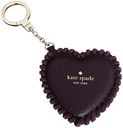 Kate Spade New York Pebbled Leather Large Heart Key Chain Ring Fob Purse Charm Plum