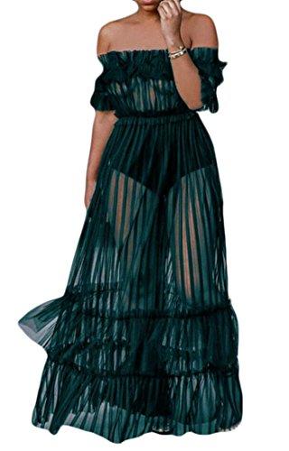 Long Stitching Cromoncent Womens Club Dress Mesh Green Shoulder See Off Falbala Through qCzpzg0wdx