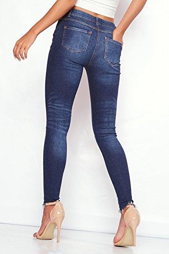 Baggy Pantaloni Casual Straight Moda Jeans Boyfriend Strappati Neve Denim Pants Donna Larghi Blu U84Hq6