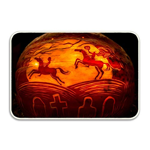 FunnyLife Best Scary Pumpkin Carving Door Mat Front Welcome Entrance -