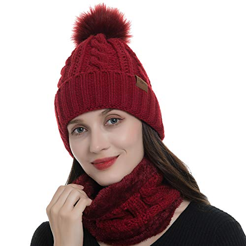 - Beanie Hat Winter Scarf Set Pom Pom Knit Skull Cap Cuff Beanie and Circle Scarf for Women