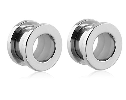 (Holy Plug Body Piercing Jewelry Pair of 2 Stainless Steel Threaded Tunnel 16g 14g 7/16 1/2 10/16 10g 7/8 1 1/16 1 1/8 11g 1 3/16 1 1/4 1 3/8 1 7/16 1 1/2 6g 1 9/16 1g 00g)