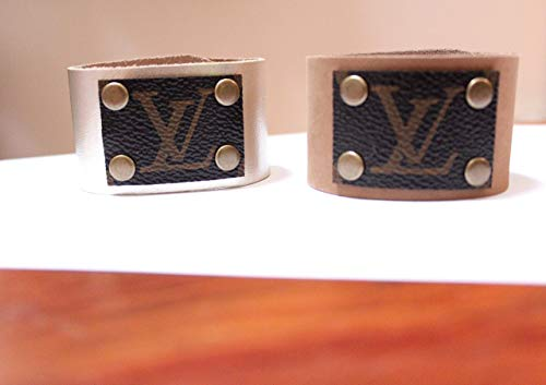 (LV Leather Bracelet, Monogram bracelet, LV cuff band )