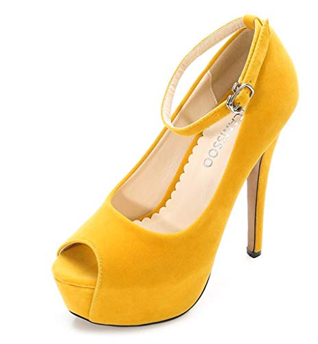 (High Heels Women's Pump Peep Round Toe Ankle Strap Platform Stiletto Dress Shoes Yellow Velveteen Size US8 EUR39)