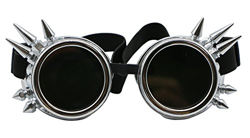 PGCOKO Vintage Spiked Steampunk Goggles Glasses Welding Cyber Punk Gothic Goggles - - Punk Goggles