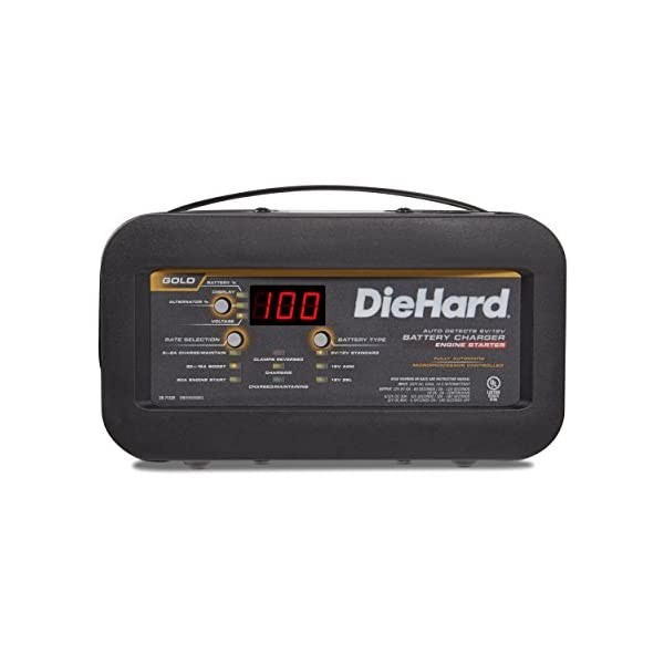 DieHard 71326 Gold Shelf Smart Battery Charger Engine Starter 612 Volt 2 6A Charge 12 30A Boost 80A