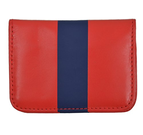Claire V Women's Striped Genuine Leather Bi Fold Credit Card Wallet Red/Navy
