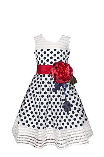 Bella Rosa Girl's Classy Polka Dots 1950s Vintage Swing Party Dress