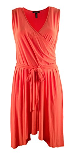 Lauren Ralph Lauren Women's Plus Size Sleeveless Belted Surplice Dress-TO-1X