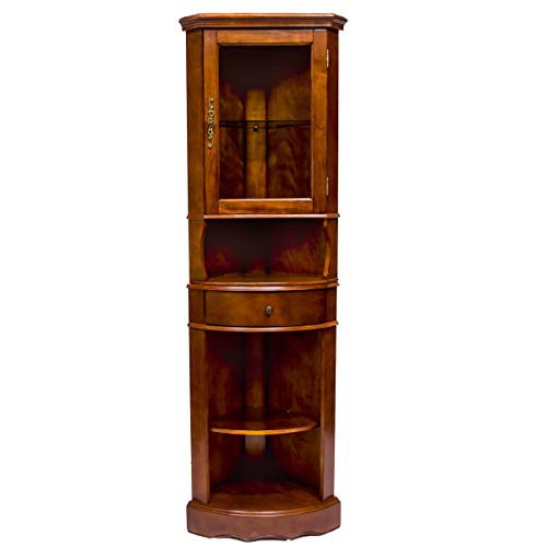 - All Things Cedar LY06 Corner Curio Cabinet, Cherry