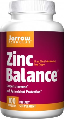 Jarrow Formulas Zinc Balance, 15 milligrams, 100 Capsules. Pack of 2 Bottles.
