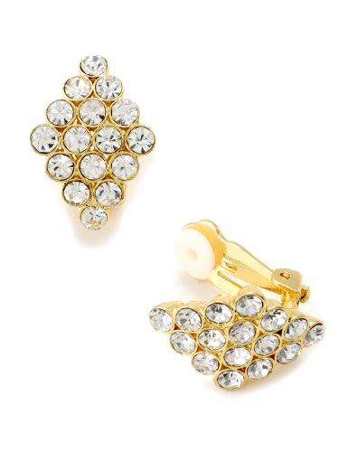 Gold Crystal Rhinestone Square Diamond Shape Clip Earrings