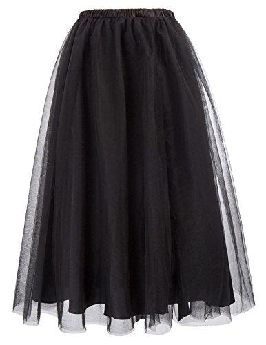 (Women's Black Steampunk Tulle Tutu Skirts Elastic Waist Princess Mesh Tulle Skirt BP620-1 M)