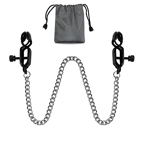 New Black Nipple Clamps Criss Cross with Chain