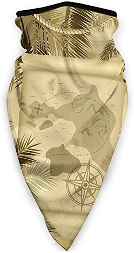 Dustproof Washable Reusable Mouth Cover,Monochrome Retro Treasure Map on a Tropical Escape Sandy Beach with Palms Exotic,Protective Safety Warm Windproof Mask for Men Women