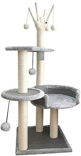 FTFDTMY Rattansitze Katzenklettergerüst, Kratzbaum Villa Offenes Katzenhaus Wohnzimmer Große Katzensprungplattform Sisal…