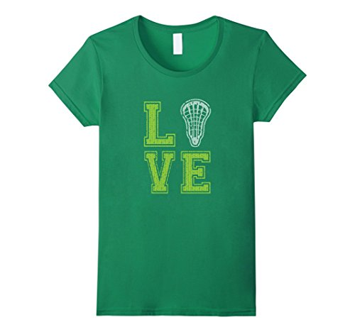 Womens Lacrosse tshirt for girls Love with LAX Stick Head Gift Small Kelly Green