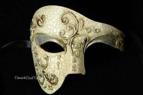Silver Lining Venetian Half Face Mask Masquerade with Phantom Vintage Design by Chom