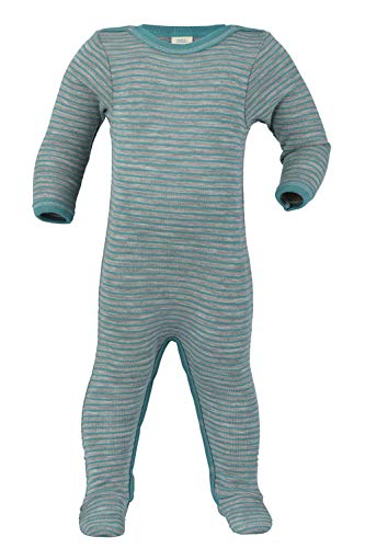 Baby Footed Romper Overall w/ Long Sleeves, Organic Merino Wool and Silk (74-80cm/6-9months, Teal) -