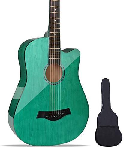 アコースティックギター GDMING 38インチ クラシカル スチール弦ギター カッタウェイ 初心者キット と 防水バッグ、 スチール弦 吊り革 ために 少年少女 、8色 (Color : Green)