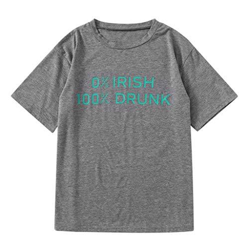 (Women Shirts Irish Drunk Womens Ladies Summer Short Sleeve Blouse Casual Letter Print Tops T-Shirt (Gray, S))