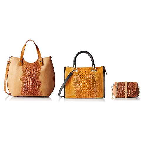Tripack Cuoio In Italy Chicca Made Pelle Borse 5Hqwx1