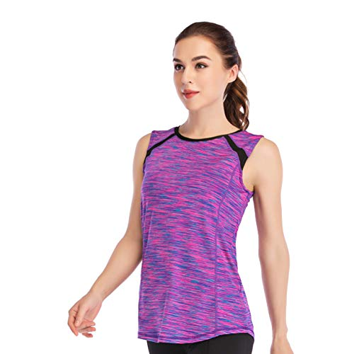 (Women Sleeveless Yoga Top Moisture Wicking Athletic Shirts Quick Dry Fitness Workout Activewear Tennis Tank Top Purple Blue)