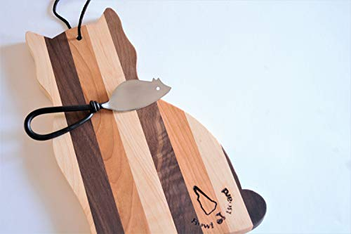 Wood Cat Cutting Board/Free Mouse Cheese Spreader Knife