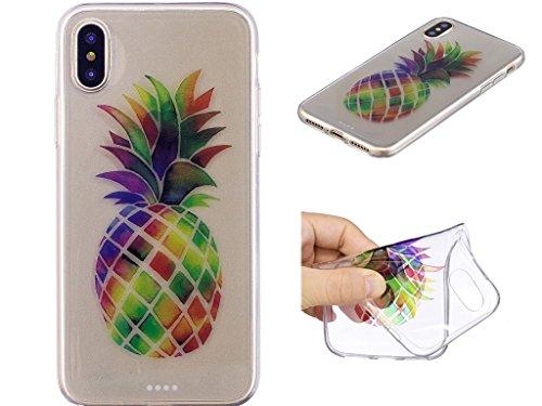 iPhone X Hülle , Leiai Modisch Ananas TPU Transparent Weich Tasche Schutzhülle Silikon Handyhülle Stoßdämpfende Schale Fall Case Shell für Apple iPhone X