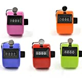 MOSY TECH Pack of 5 Color Hand Held Tally Counter 4 Digit Mechanical Palm Clicker Counter - Assorted Color Handheld Tally Counter for Lap/Sport/Coach/School/Event