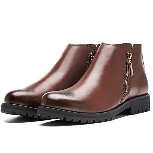 Chelsea Boots Uomo in Pelle Scamosciata Formale Sicurezza Brogue Classico Martin Stivali Fondo Spesso Vintage Utensili Stivali Brown