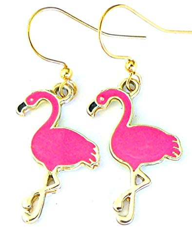 Bright pink flamingo earrings, pink and gold enamel wading bird charms