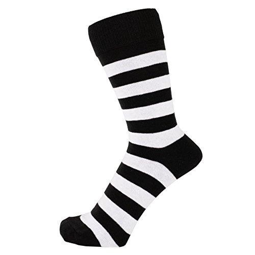 (ZAKIRA Finest Combed Cotton Striped Dress Socks for Men, Women (White/Black, US 7-12))