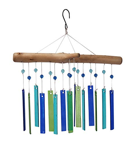 The Paragon Handcrafted Glass and Wood Wind Chime, Faux Driftwood Windchime with Colorful Glass Panel, Bright Garden Décor