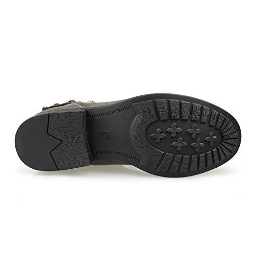 Hawkwell Womens Buckle Mid Calf Boots Dark Grey i0XJDrE3Y