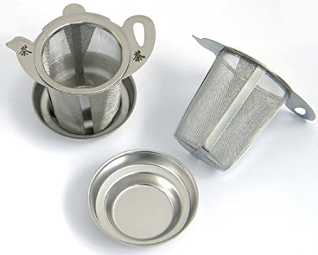 Stainless steel teapot tea infuser//strainer with lid//base